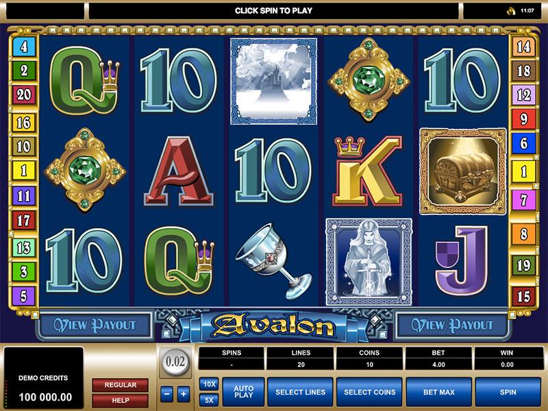 Avalon Slot เป็นเกมสล็อตตามแบบอย่างของ Microgaming ที่มาพร้อมกับ 5 รีล 20 เพย์ไลน์ ออกแบบให้อยู่ในธีมของ อวาลอน หรือ แดนสุขาวดี เกม Avalon Slot